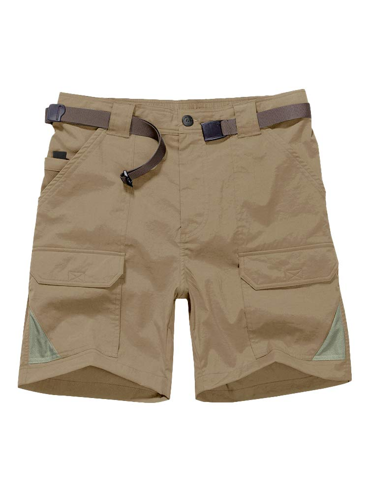 Men's Casual Elastic Waist Lightweight OutdoorQuick Dry Stretch Cargo Fishing Hiking Shorts #6018-Khaki, 38 by Jessie Kidden