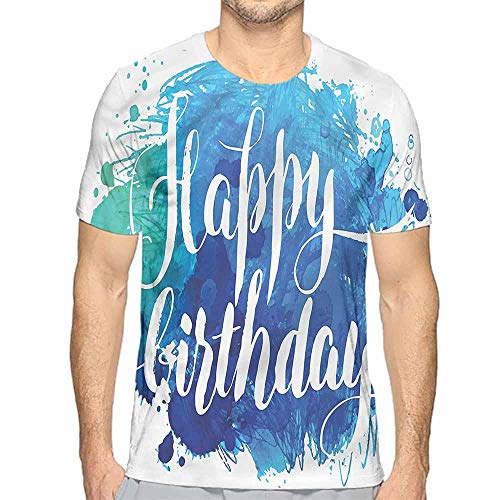 t Shirt for Men Birthday,Artsy Greeting Message Custom t Shirt -