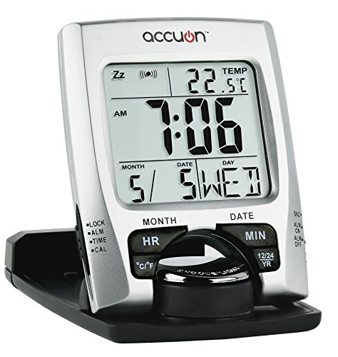 Accuon Ultra Slim Travel Alarm Clock with Calendar & Temperature - Rotating Alarm