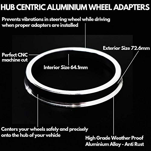 64.1mm 72.6mm Aluminium Hub Centric Centering Rings Wheel Hub Ring Set Inside Outside Diameter Wheels Caps Heat Resistant Strong Performance Never Break Never Melt INCLUDES 4 PIECES Universal Fit