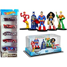 DC Justice League HeroWorld 5-Pack Exclusive Figures & Hot Wheels Movie Cars Character Collection Batman, and Superman Aquaman / Wonder Woman Batmobile The Flash - Cyborg - Superman character bundle