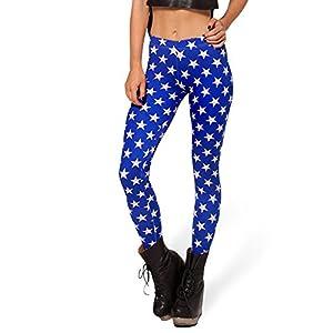 Ensasa Women's Fashion Digital Print Blue Stars Spandex Strenchy Leggings (Small, Blue)