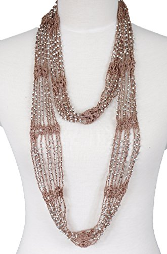 Fishnet Beaded Scarf , summer Belt , infinity scarf, necklace (Tan) (Womens Necklace Tan)
