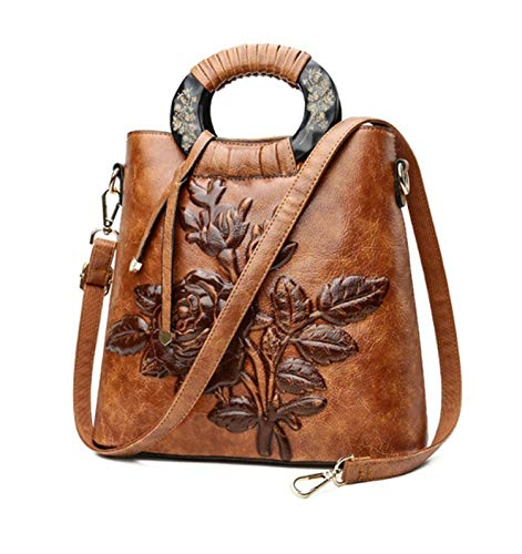(Chinoiserie Embossing Leather Women Tote Bags Lady Shell Floral Vintage Shoulder Bag,Brown,(20cm-Max Length-30cm))