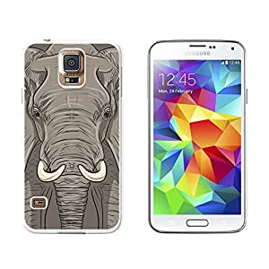 Elephant - Africa Safari - Snap On Hard Protective Case for Samsung Galaxy S5 - White
