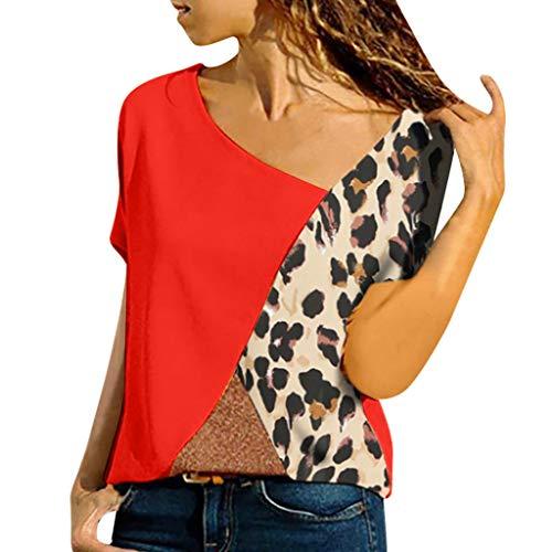 - Driuankeji Women's Plus Size Top Ladies Asymmetric Neck Patch Pocket Blouse Color Block Leopard T-Shirts Red