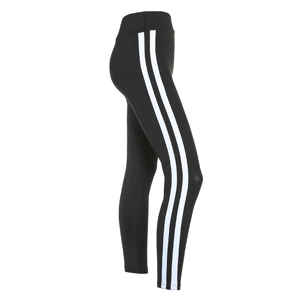e150b992314 2017 Black and White Contrast Yoga Pants Vertical White Stripes ...