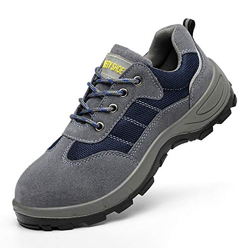 ECOLAQ& Men Shoes Steel Toe Shoes Men Boot Work Safety Boot Ankle Boots Military Boots Anti-Smashing Piercing Safety Shoes Men Sneaker Navy Blue 3.5]()