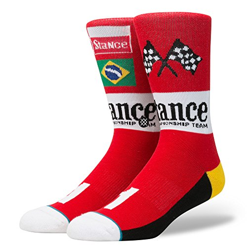 Stance Men's Grand Acceleration Collection Prix Crew Sock Red (Grand Prix Shoes)