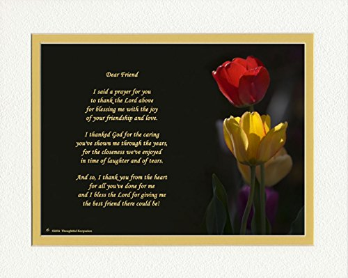 Friend Gifts with Thank You Prayer for Friend Poem. Red and Yellow Tulips Photo, 8