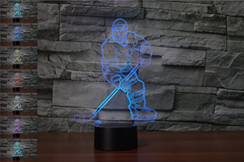 YBest 3D Hockey Player LED Night Light 7 Colors Changing Novelty Table Lamp Touch Switch Desk Lamp-USB Powered for Home/Office Decorations/Gifts ()