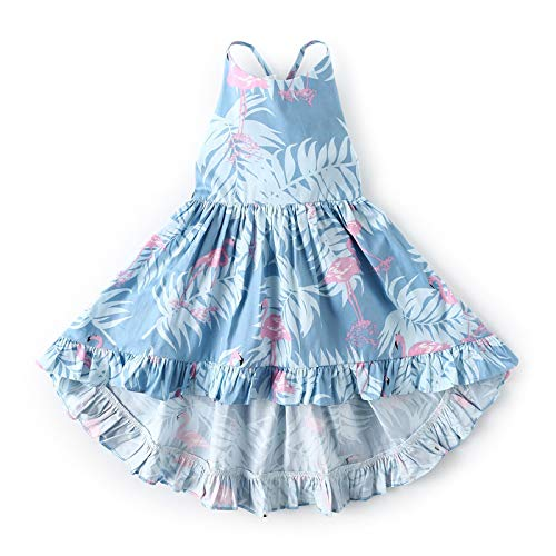Crazy Gotend Girls' Camisole Printed Dress Twirly Dresses Swallowtail Dress,Blue 6/7