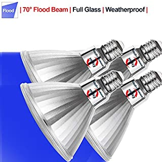 Explux PAR38 Blue LED Flood Light Bulbs, Dimmable, Weatherproof, 120W Equivalent, 2-Pack