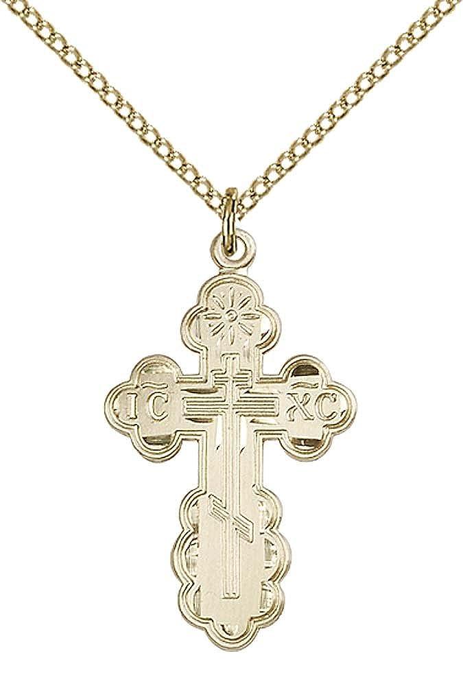 14kt Gold Filled St Olga Pendant Gold Filled Lite Curb Chain Patron Saint Converts//Widows 1 1//8 x 5//8