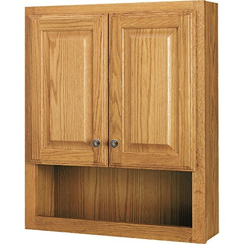 (Style Selections 23-In x 28-In Ready-To-Assemble 2 Door Bathroom Wall Wood Medicine Cabinet, Honey Oak)