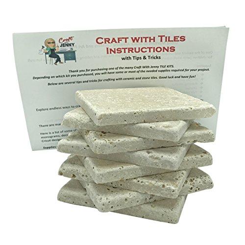 Coaster Tile Craft Kit, Set of 8 Stone Tumbled Travertine Turkish Tiles 4