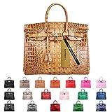 SanMario Designer Handbag Top Handle Padlock Women's Leather Bag Crocodile's Skeleton Patterns Embossed with Golden Hardware Brown 30cm/12''