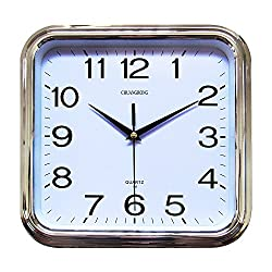 Chuang Rong Large Wall Clock 11.5 Inch classic Large Square Elegant Wall Clock Quality Quartz Battery Operated Home Clock (silver)