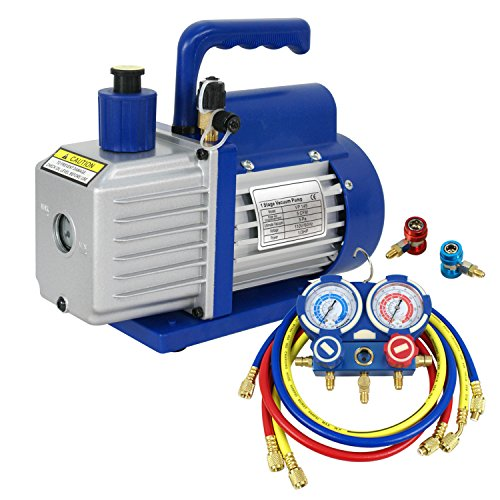 F2C 5CFM 1/3hp Air Vacuum Pump HVAC Refrigeration AC Mani...