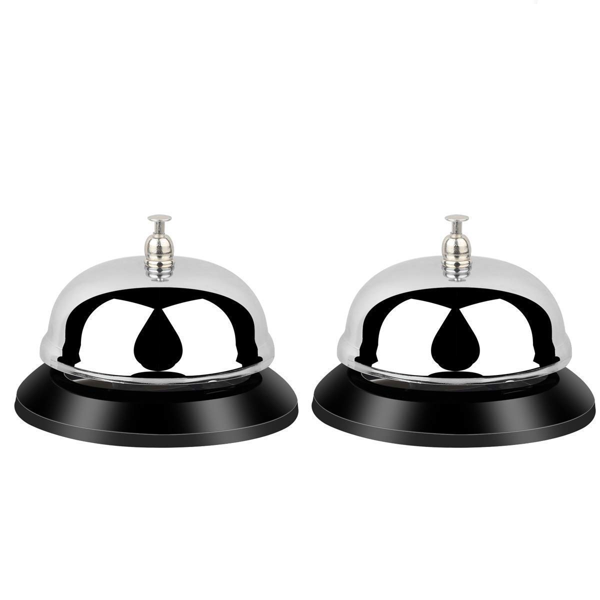YYPLUS 2 Pack Desk Service Bells, Desk Big Call Bell for Hotels, Schools, Restaurants, Hospitals, Chrome Finish, All-Metal Construction (3.3 inch) by YYPLUS