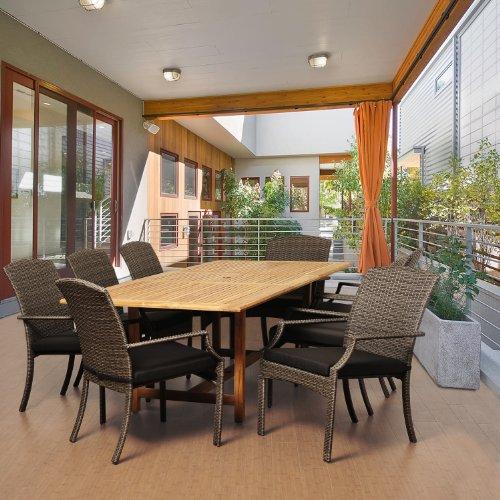 اسعار Amazonia Teak Boise 9-Piece Teak/Wicker Extendable Rectangular Dining Set with Grey Cushions