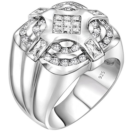 - Men's Sterling Silver .925 Ring with Invisible Set Center Cubic Zirconia (CZ) Stone Surrounded by 36 CZ Stones, Platinum Plated