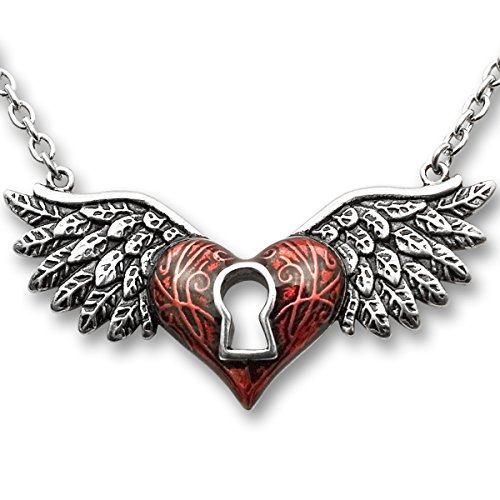 Controse Angel Wings Heart Necklace Red With Keyhole 316L Stainless Steel
