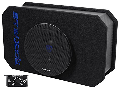 Rockville Rmw8a 8″ 800 Watt Ported Powered Truck Subwoofer in Slim Enclosure