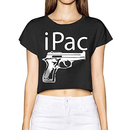 Richard Womens iPac Gun Rights 2nd Amendment Tennis Black Short Sleeve Crop Top Tee - Street 2nd Shops Beach Long