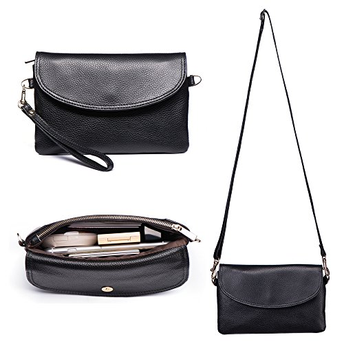 Befen Womens Full Grain Leather Wristlet Clutch Crossbody Phone Wallet, Mini Hipster Cross Body Bag - Black