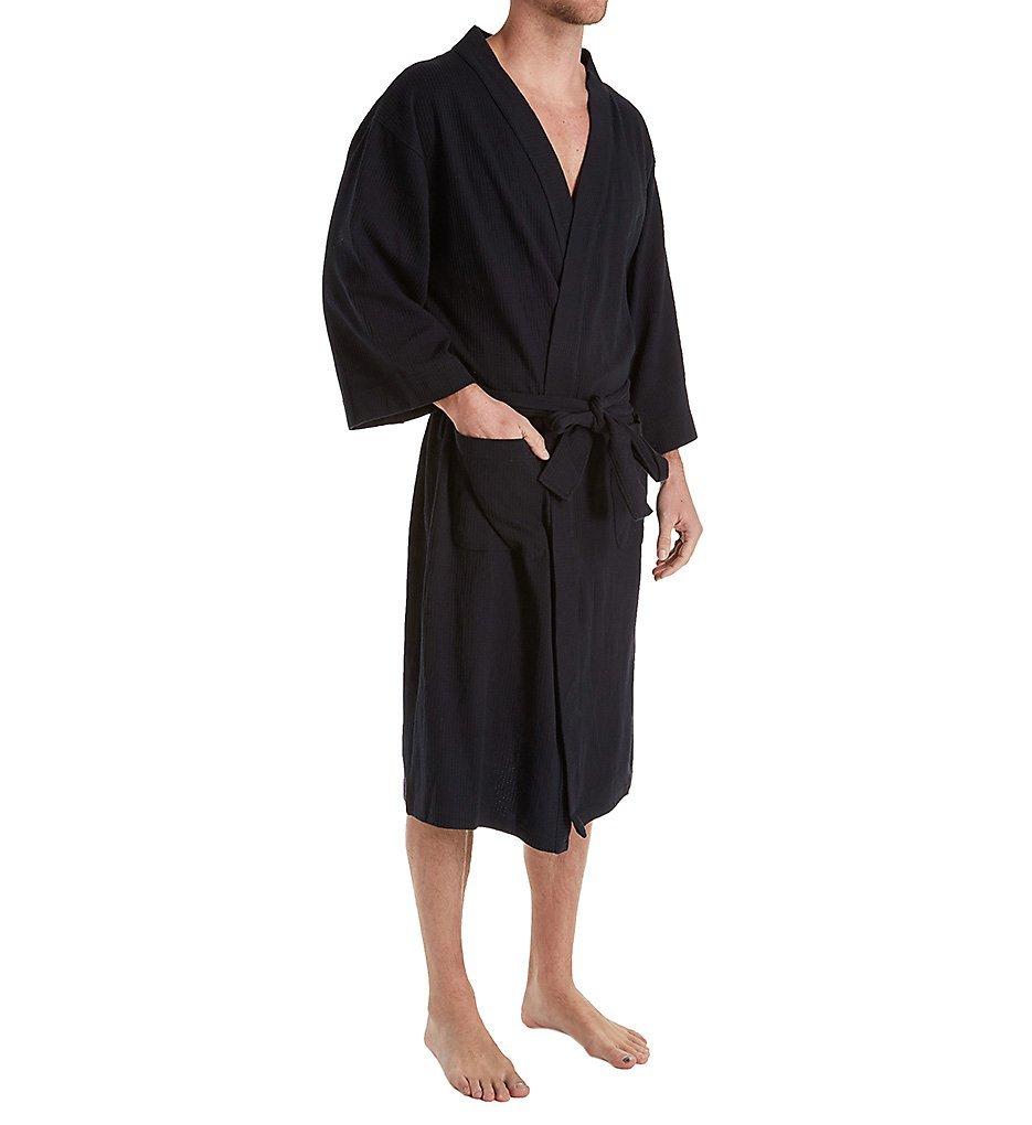 Hanes Tall Man Solid Waffle Knit Spa Robe (5071T) Lt/XLT/Black