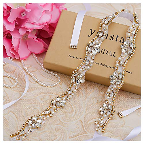 yanstar Gold Rhinestone Crystal Pearls Wedding Bridal Belts with White Ribbon Sashes for Bridal Bridesmaid Gowns