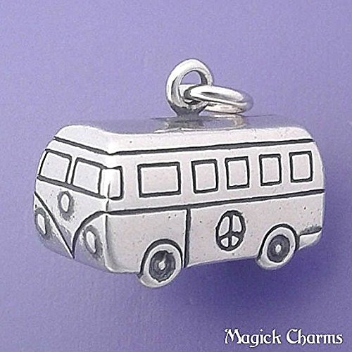 925 Sterling Silver 3-D VW Van Volkswagen Hippie Bus Camper Charm Pendant Jewelry Making Supply, Pendant, Charms, Bracelet, DIY Crafting by Wholesale Charms