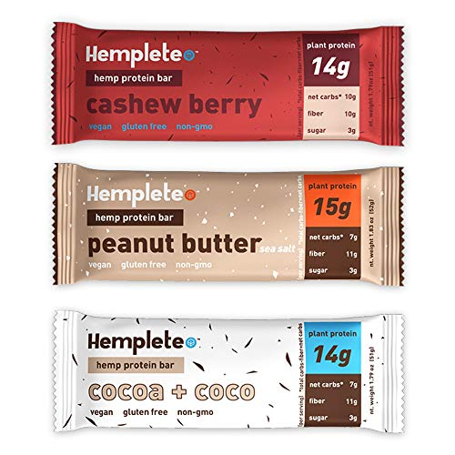 (Hemp Protein Bar by Hemplete - Vegan, Whole Food Based, Sample Pack, 3 Flavors, (3 Count) Paleo, Low Carb Friendly Snack With Healthy Fats)