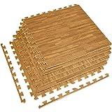 Sorbus Interlocking Floor Mat – Multipurpose Foam Tile Flooring with Borders – Home, Office, Playroom, Basement, 24 Sq ft (Wood Grain - Light, 6 Tiles) (6 Tiles (24 Sq ft), Wood Grain - Light)