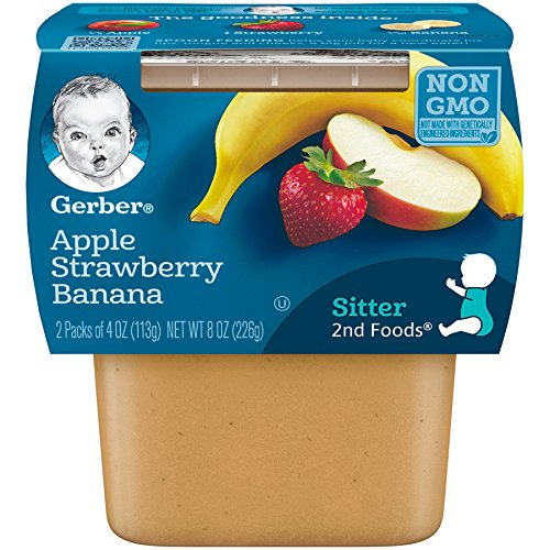 Gerber 2nd Foods Apple Strawberry Banana, 4 Ounce Tubs, 2 Count (Pack of 8) ()