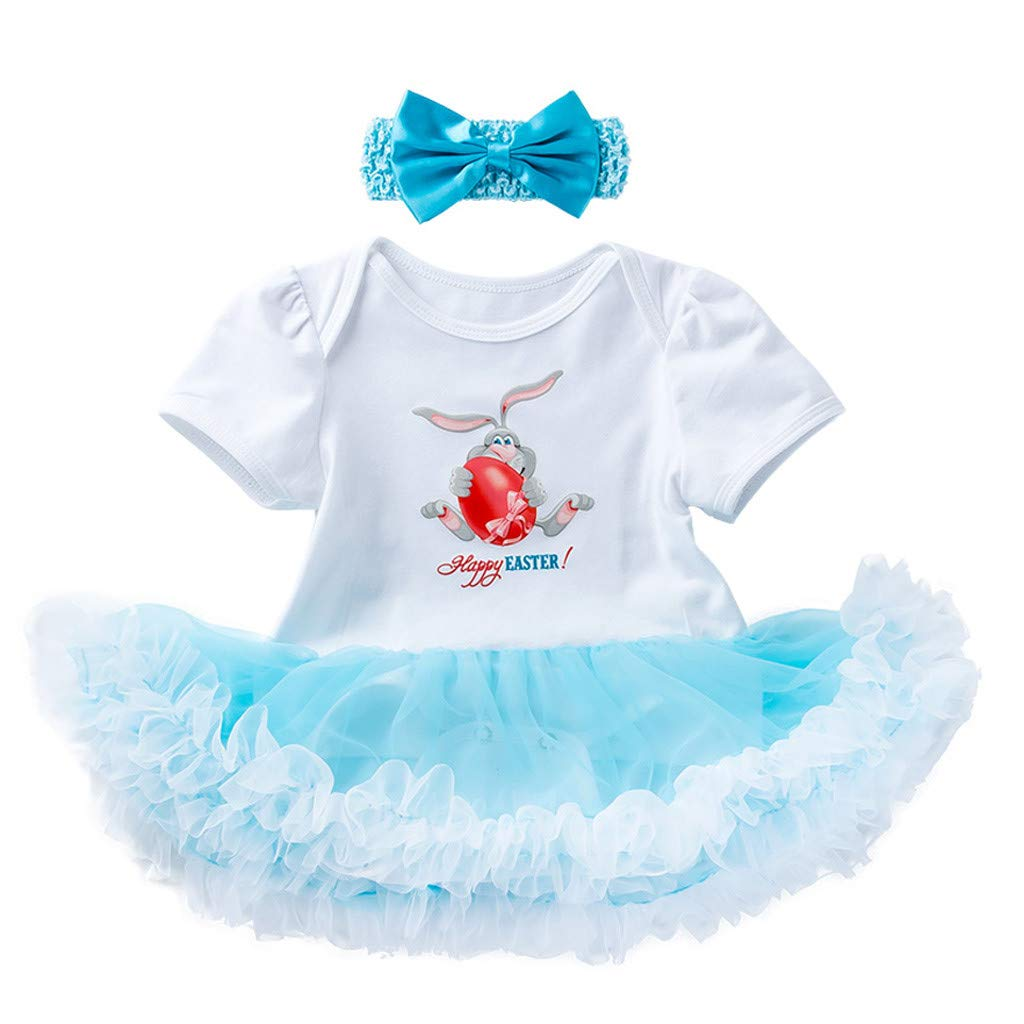 Infant Baby Girl Easter Day Cartoon Rabbit Bodysuit Romper+Short+Headband Set US