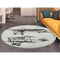 Airplane Anti-Skid Area Rug Classic Nostalgic Planes Aircraft Propeller in the Sky Fast Travel Wings Sketch Soft Area Rugs Blue Black