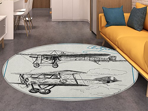 Airplane Anti-Skid Area Rug Classic Nostalgic Planes Aircraft Propeller in the Sky Fast Travel Wings Sketch Soft Area Rugs Blue ()