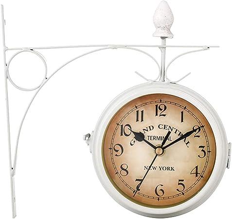 IANSISI Estilo Europeo Retro Doble Cara Colgante café Colgante Doble Pared con decoración Exterior para jardín de montaña con Reloj de Pared: Amazon.es: Hogar