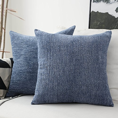 Iron Linen Shade - HOME BRILLIANT Decor Throw Pillow Covers Supersoft Chenille Velvet Cushion Cover for Couch Bench, 2 Packs, 18x18 inch (45x45cm),Dark Blue