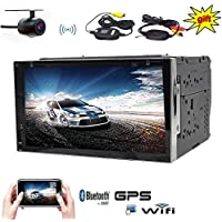 Android 6.0 Car DVD PIayer Stereo with Quad Core GPS Car Radio Double Din 7 Touch Screen Headunit In Dash Navigation Support 1080P Video Bluetooth OBD2 +Reversing Camera