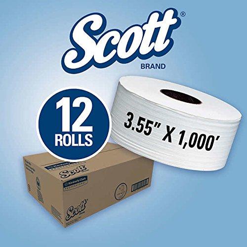 Jr Jumbo Jrt Roll Bathroom - Scott JRT Jr. Jumbo Roll Bath Tissue 2-Ply White, 1,000' per roll, 12ct