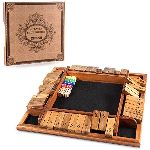 AMEROUS 1-4 Players Shut The Box Dice Game, Wooden Board Table Math Game with 12 Dice and Shut-The-Box Instructions for Kids Adults, Family Classroom Home or Pub (12 Inches)