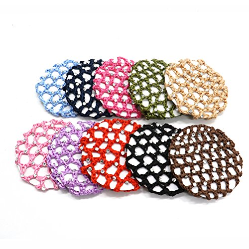 un Cover Snood Hair Net Ballet Dance Skating Chic Crochet With Pearl For Women Girl ,Assorted Color ()
