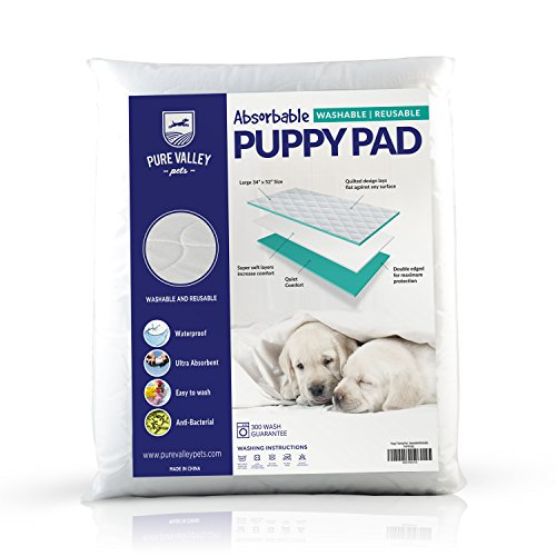(Washable, Reusable Puppy Pads - Dog or Cat Training Mat - Ultra Absorbent, Waterproof Cloth Pad - Unscented Pee and Piddle Underpad with Polyurethane Backing - 34 x 52 Inches - Pure Valley Pets)