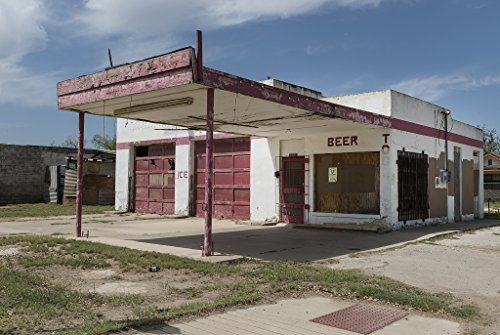 24 X 36 Giclee Print Of Even Its Beer And Ice Trade Didnt Save This Old Gas Station In Carrizo Springs Texas R40 41714 By Highsmith  Carol M