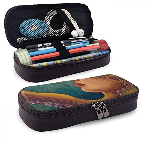 WONDER 4 Pencil Case Octopus Blonde Mermaid Big Capacity Storage PU Leather Pencil Pouch Stationery Organizer Multifunction Cosmetic Makeup Bag -
