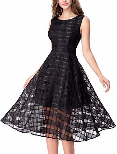 Noctflos Women's Black Sheer Plaid Prom Party Homecoming Fit and Flare Midi Dress XXL