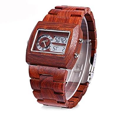 Tamlee Luxury Dual Display Men's LED Digital Analog Wooden Watch Red